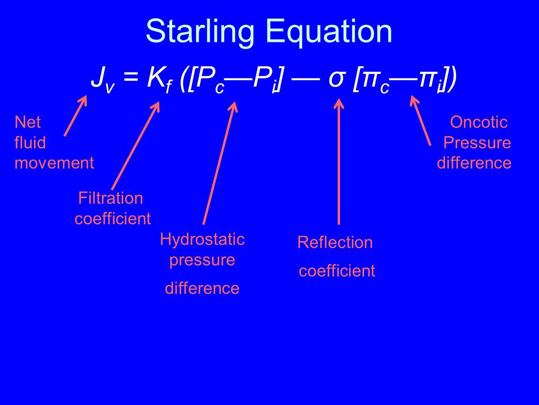 Starling Equation Jv = Kf ([Pc—Pi] — σ [πc—πi]) Net fluid movement